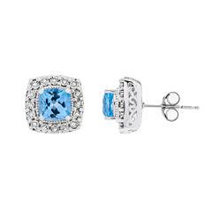 1/10 CT. T.W. Cushion Blue Topaz Sterling Silver Stud Earrings