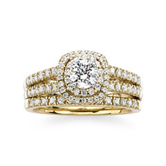 Modern Bride® Signature 1 CT. T.W. Diamond 14K Yellow Gold Bridal Ring Set