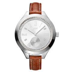 JBW Aria Womens Diamond- and Crystal-Accent Brown Leather Strap Watch J6309B