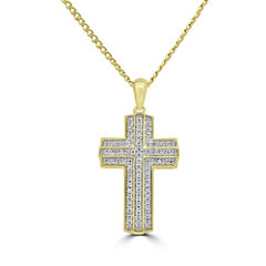 Mens 1/3 CT. T.W. White Diamond 10K Gold Pendant Necklace