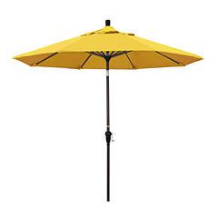 California Umbrella 9' Sunset Series Solid Olefin Patio Umbrella With Bronze Aluminum Pole Aluminum Ribs Auto Tilt Crank Lift