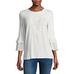 Liz Claiborne 3/4 Sleeve Scoop Neck T-Shirt-Womens