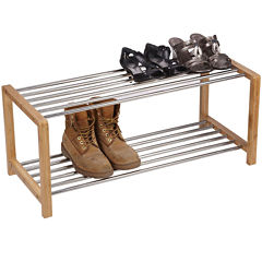 Household Essentials® Large Bamboo and Steel Shoe Rack