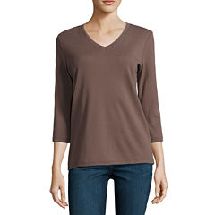 St. John's Bay 3/4 Sleeve V Neck T-Shirt-Womens