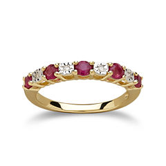 Glass Filled Ruby Diamond-Accent 10K Yellow Gold Ring