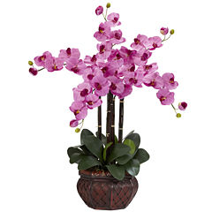 Nearly Natural Phalaenopsis With Decorative Vase Silk Flower Arrangement