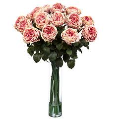 Nearly Natural Fancy Rose Silk Flower Arrangement
