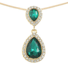 Monet Jewelry Womens Green Pendant Necklace