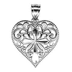 Sterling Silver Heart with Cross Charm Pendant