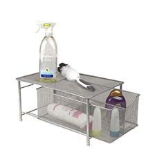Mind Reader Storage Basket w/ Sliding Drawer and Steel Mesh Platform On Top