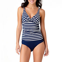 Liz Claiborne Nautical Stripe Tankini or High Waist Bottom