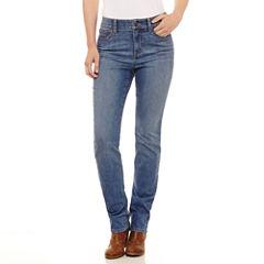 St. John's Bay Sjb Secretly Slender Embroidered Straight Jean Straight Fit Straight Leg Jeans