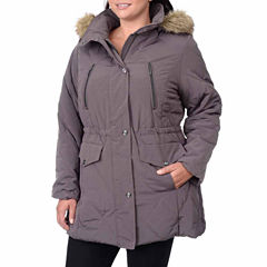 Fleet Street Quilted Faux-Silk Anorak with Faux-Fur Trim Hood - Plus