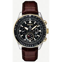 Seiko Prospex Solar Chronograph Mens Brown Strap Watch-Ssc632