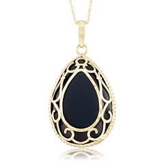 Unisex Black Onyx 10K Gold Pendant Necklace