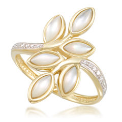 Womens White Mother Of Pearl 10K Gold Cocktail Ring