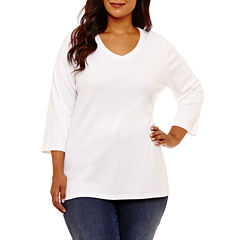 St. John's Bay® 3/4 Sleeve V-Neck T-Shirt - Plus