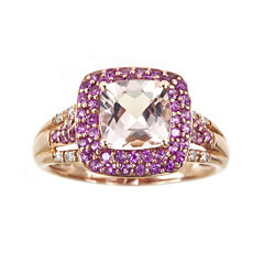 LIMITED QUANTITIES Cushion-Cut Genuine Morganite and Pink Sapphire Ring