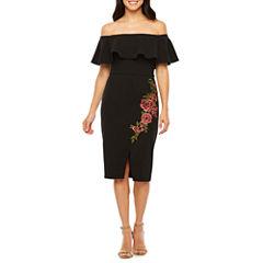 Bisou Bisou Off the Shoulder Embroidered Shift Dress