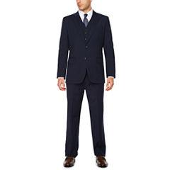 Stafford® Travel Wool Blend Stretch Navy Pin Stripe-Classic Fit