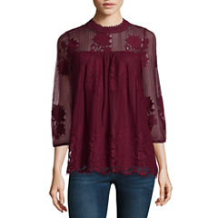 Miss Chievous 3/4 Sleeve High Neck Knit Floral Blouse-Fitted
