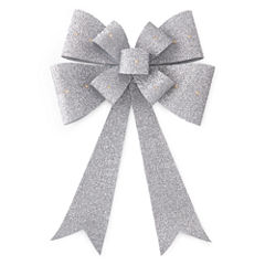 North Pole Trading Co. Christmas Cheer Silver Outdoor Bow