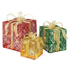 North Pole Trading Co. Christmas Cheer 3 Pc. Outdoor Gift Box Set