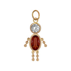 Red Oval 10K Gold Pendant