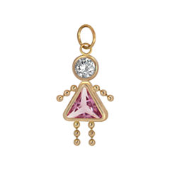 Pink Oval 10K Gold Pendant