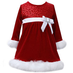 Bonnie Jean Long Sleeve Skater Dress - Toddler Girls