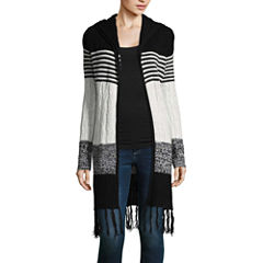 Almost Famous Long Sleeve Hooded Neck Open Front Cardigan-Juniors