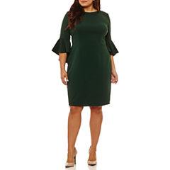 Bisou Bisou Elbow Sleeve Sheath Dress-Plus
