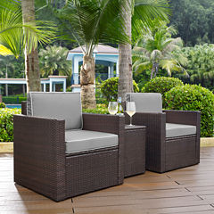 Palm Harbor 3-pc. Wicker Conversation Set With Cushions - Arm Chairs and Side Table