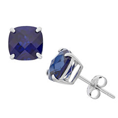 Cushion Blue Sapphire Sterling Silver Stud Earrings