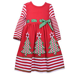 Bonnie Jean Long Sleeve Skater Dress - Preschool Girls