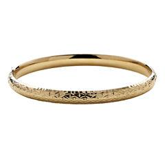 Infinite Gold™ 14K Yellow Gold Hollow Diamond-Cut Bangle