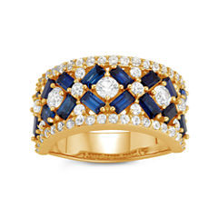 Womens Lab Created Blue Sapphire 14K Gold Over Silver Cocktail Ring