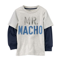 Carter's Long Sleeve Round Neck T-Shirt-Toddler Boys