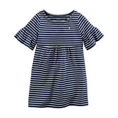 Carter's Elbow Sleeve Bell Sleeve Stripe A-Line Dress - Preschool Girls