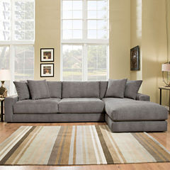 Fabric Possibilities Ponderosa Quick Ship 2-Piece Left Arm Facing Chaise Sectional in Curious