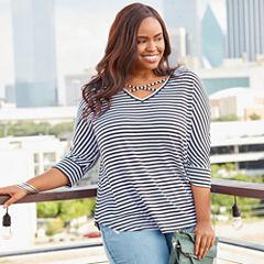 Boutique + 3/4 Sleeve T-Shirt-Womens Plus