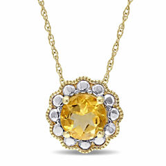 Womens 17 Inch Yellow Citrine 10K Gold Link Necklace