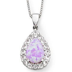 Lab-Created Pink Opal & White Sapphire Teardrop Pendant Necklace