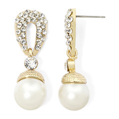 Vieste® Simulated Pearl and Pavé Crystal Gold-Tone Drop Earrings