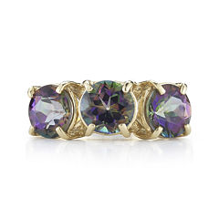 Mystic Fire Topaz 10K Yellow Gold 3-Stone Ring
