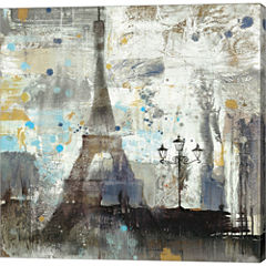 Eiffel Tower Neutral Gallery Wrapped Canvas Wall Art On Deep Stretch Bars