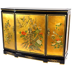 Oriental Furniture Gold Slant Front Accent Cabinet