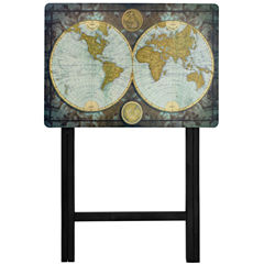 Oriental Furniture Vintage World Map TV Tray Table