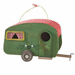 Decorative Green with Red Polka-Dot Roof Camper Birdhouse
