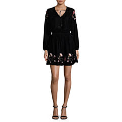 a.n.a  Long Sleeve Embroidered Velvet Dress